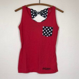 DISNEY Minnie Mouse Tank Top Red B&W Dots XS EUC